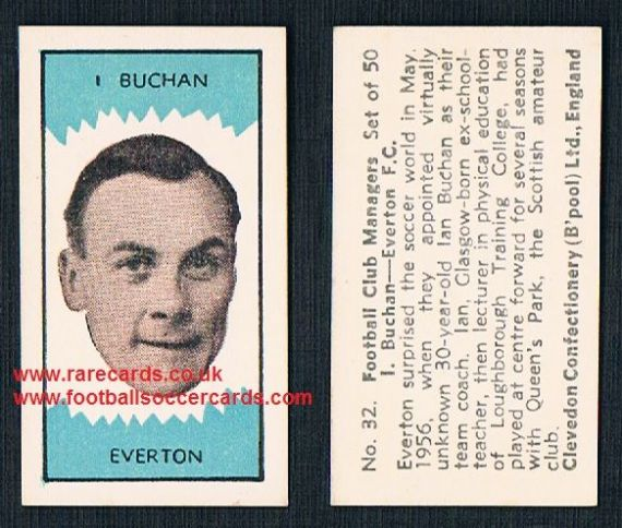 1959 Clevedon Football Club Managers card Ian Buchan of Everton
